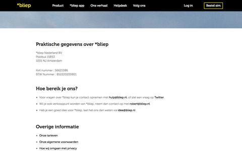 Screenshot of Contact Page bliep.nl - *bliep - Jouw simkaart, jouw dagabonnement, jouw keuze - captured Sept. 24, 2014