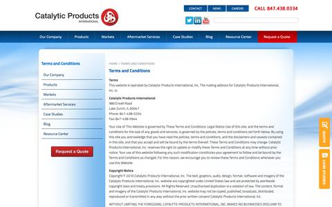Screenshot of Terms Page cpilink.com - Catalytic Products International   Terms and Conditions - captured Nov. 14, 2018