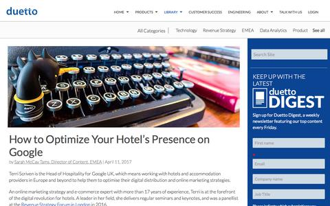 Screenshot of Case Studies Page duettocloud.com - How to Optimize Your Hotel's Presence on Google - captured Jan. 6, 2020