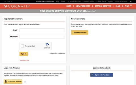 Screenshot of Login Page coravin.com - Customer Login - captured March 21, 2019