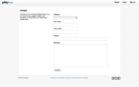 Screenshot of Contact Page phlybuy.com - Contact - Phlybuy - captured Sept. 29, 2014