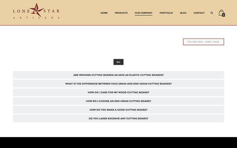Screenshot of FAQ Page lonestarartisans.com - FAQs - Lone Star Artisans - captured July 17, 2016