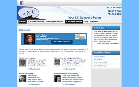 Screenshot of Testimonials Page ancsite.com - Southern California Cient Recommendations for IT Support and Network Management - captured Oct. 4, 2014