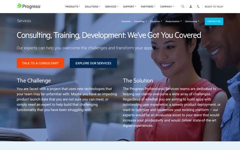 Screenshot of Services Page progress.com - Services - Progress - captured Nov. 15, 2019