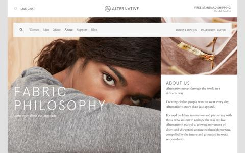 Screenshot of About Page alternativeapparel.com - About | Alternative - captured Sept. 23, 2014