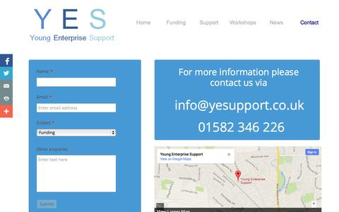Screenshot of Contact Page Signup Page yesupport.co.uk - Contact - captured Oct. 26, 2014