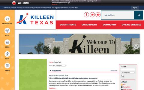 Screenshot of Press Page killeentexas.gov - Killeen, TX - captured Nov. 10, 2018
