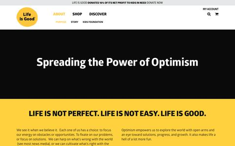 Screenshot of About Page lifeisgood.com - Purpose - Life is good - captured Jan. 11, 2018
