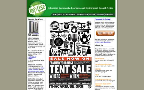 Screenshot of Home Page fingerlakesreuse.org - Finger Lakes ReUse, Ithaca, New York - captured Sept. 8, 2015
