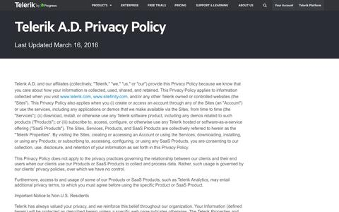Screenshot of Privacy Page telerik.com - Telerik Privacy Policy Terms and Conditions - captured May 15, 2016