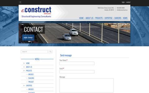 Screenshot of Contact Page econstruct.us - Contact - eConstruct, USA.LLC - Omaha, NE - captured Nov. 13, 2016
