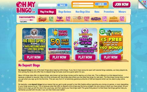 Screenshot of ohmybingo.com - No Deposit Bingo | Free Bingo No Deposit | OhMyBingo | As Seen On - captured March 19, 2016