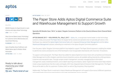 Screenshot of Support Page aptos.com - The Paper Store Adds Aptos Digital Commerce Suite and Warehouse Management to Support Growth - Aptos - captured Feb. 20, 2020