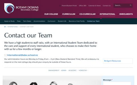 Screenshot of Team Page bdsc.school.nz - BDSC Contact our International Students team - captured March 6, 2018