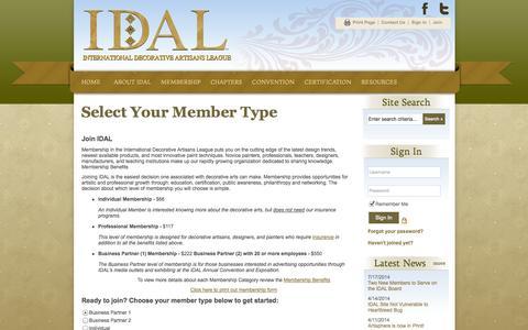 Screenshot of Signup Page site-ym.com - International Decorative Artisans League (IDAL) - captured Sept. 18, 2014