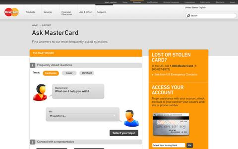 Screenshot of FAQ Page mastercard.us - MasterCard Support FAQ | Debit and Credit Card Questions  |  MasterCard® - captured Oct. 30, 2014