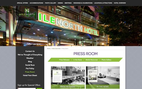 Screenshot of Press Page milenorthhotel.com - Chicago Hotels Downtown   MileNorth Hotel – Press Room   Chicago Hotels Michigan Avenue - captured Feb. 17, 2016