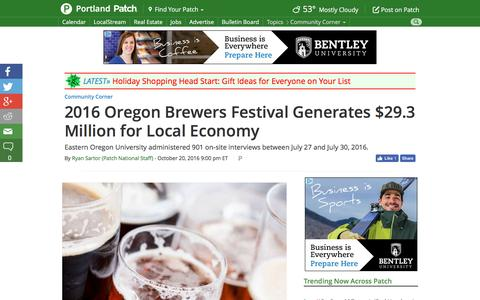 Screenshot of patch.com - 2016 Oregon Brewers Festival Generates $29.3 Million for Local Economy - Portland, OR Patch - captured Oct. 21, 2016