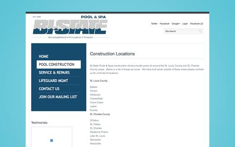Screenshot of Locations Page bistatepool.com - Construction Locations - captured Oct. 5, 2014