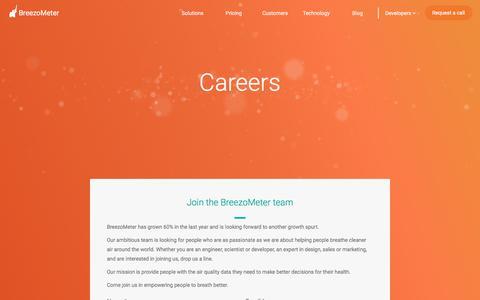Screenshot of Jobs Page breezometer.com - Careers - BreezoMeter - captured Nov. 1, 2017