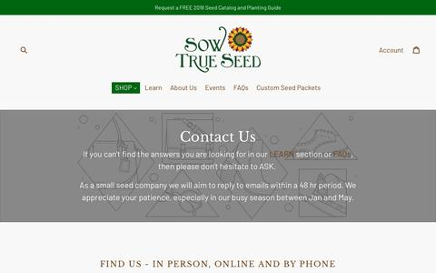 Screenshot of Contact Page sowtrueseed.com - Contact Us                      – Sow True Seed - captured Feb. 20, 2018
