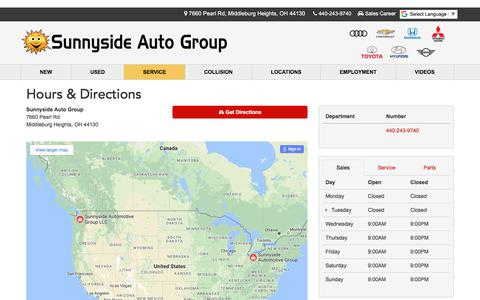 Screenshot of Hours Page sunnysideauto.com - Sunnyside Auto Group Hours & Directions - Middleburg Heights Group dealer in Middleburg Heights OH - New and Used Group dealership Cleveland North Olmsted Elyria OH - captured Oct. 24, 2017