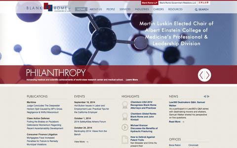 Screenshot of Home Page blankrome.com - Blank Rome LLP - captured Sept. 19, 2014