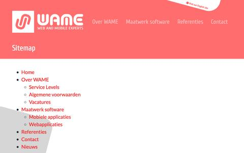 Screenshot of Site Map Page wame.nl - Sitemap - WAME - Web & Mobile Experts - captured Sept. 21, 2018
