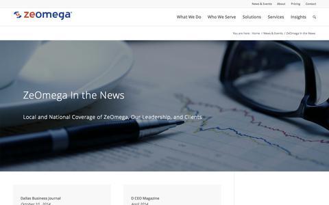 Screenshot of Press Page zeomega.com - ZeOmega In the News - ZeOmega - captured Nov. 4, 2015