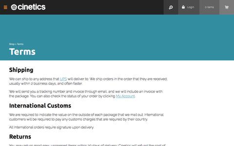 Screenshot of Terms Page cinetics.com - Terms - captured Nov. 6, 2016