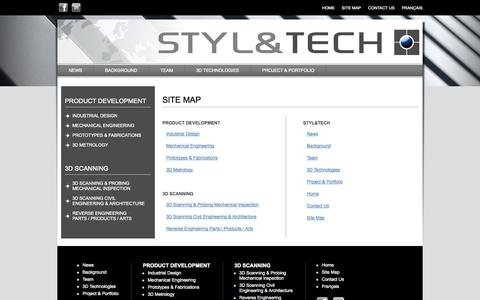 Screenshot of Site Map Page stylntech.com - STYL&TECH Site Map : Product Development, 3D Scanning, Industrial Design, Prototypes & fabrications - captured Oct. 3, 2014