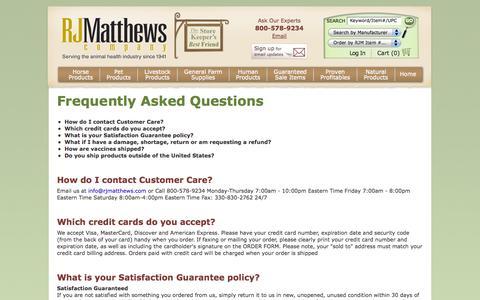 Screenshot of FAQ Page rjmatthews.com - Frequently Asked Questions at RJ Matthews - captured Oct. 7, 2014