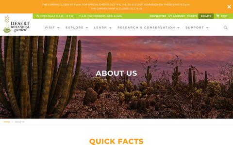 Screenshot of About Page dbg.org - Learn more about the Desert Botanical Garden in Phoenix - captured Oct. 5, 2018