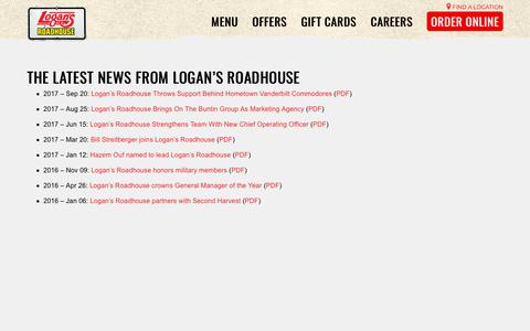 Screenshot of Press Page logansroadhouse.com - News and Press Releases | Logan's Roadhouse - captured Sept. 27, 2018