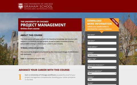 Screenshot of Landing Page getsmarter.ac - UChicago | Project Management - captured March 22, 2016