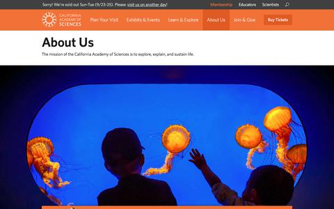 Screenshot of About Page calacademy.org - About Us | California Academy of Sciences - captured Sept. 23, 2018