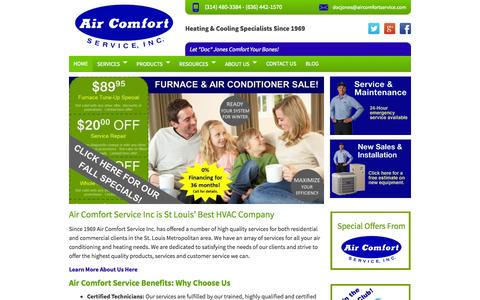 Screenshot of Home Page aircomfortservice.com - Air Conditioning and Heating Service and Repair St Louis MO - captured Sept. 22, 2014