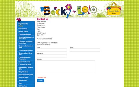 Screenshot of Contact Page beckyandlolo.co.uk - Childrens Wall Stickers, kids lunch boxes, kids Tableware, Nursery Decor - captured Sept. 19, 2014
