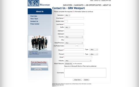 Screenshot of Contact Page grnwestport.com - GRN - Global Recruiters of Westport - captured Oct. 1, 2014