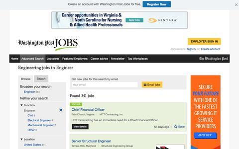 Screenshot of Jobs Page washingtonpost.com - Engineering jobs in Engineer - captured Oct. 19, 2016