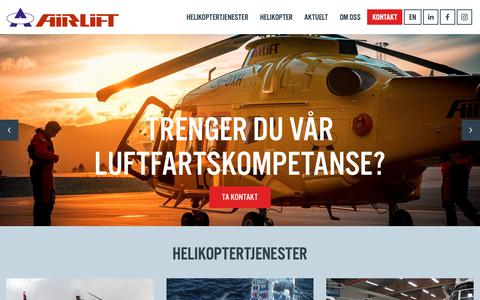 Screenshot of Home Page airlift.no - Airlift as helikoptertjenester innland og offshore - captured Oct. 1, 2018