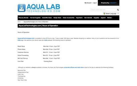 Screenshot of Hours Page aqualabtechnologies.com - AquaLabTechnologies.com | Hours of Operation - captured Jan. 21, 2016