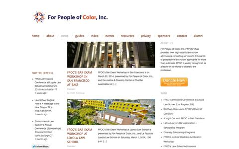 Screenshot of Press Page forpeopleofcolor.org - News | For People of Color, Inc. | Empowering people of color to enter law school and become attorneys. - captured Oct. 6, 2014