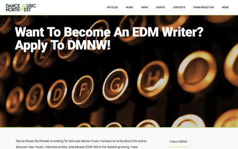 Screenshot of Jobs Page dancemusicnw.com - Want to become an EDM writer? Apply to DMNW! - captured Jan. 24, 2016