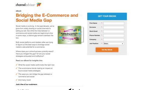 Screenshot of Landing Page channeladvisor.com - Bridging the E-Commerce and Social Media Gap - captured March 22, 2016