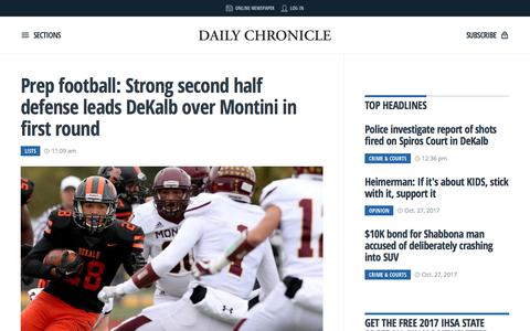 Screenshot of Home Page daily-chronicle.com - Daily, local and breaking news for DeKalb County, Illinois | Daily Chronicle - captured Oct. 30, 2017