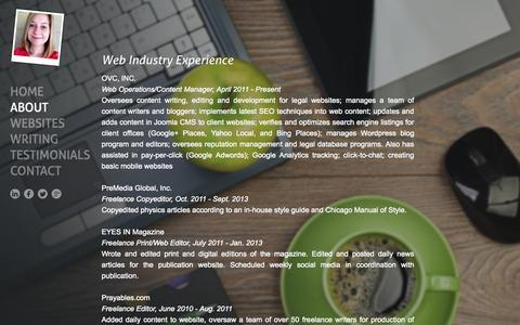 Screenshot of About Page amandarinker.com - Freelance Web Designer - Small Business - Portfolio - Amanda Rinker - captured Oct. 1, 2014