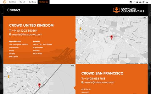 Screenshot of Contact Page thisiscrowd.com - Contact Crowd - Crowd - captured Sept. 23, 2014