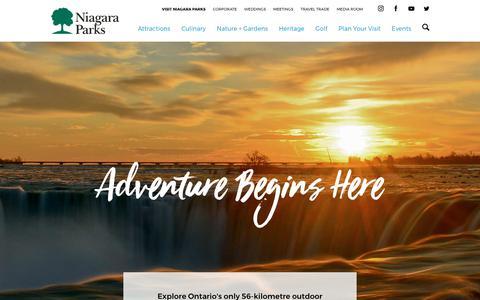 Screenshot of Home Page niagaraparks.com - Niagara Parks - Niagara Falls Attractions, Restaurants, Golf & Packages - captured Aug. 1, 2017