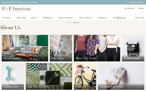 Screenshot of About Page fabricsandpapers.com - Our Story | Interior Specialists | Design Inspiration | F&P Interiors - captured Sept. 23, 2018
